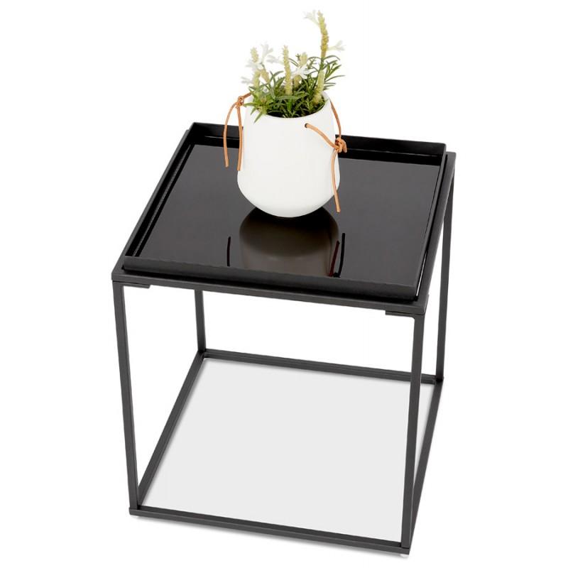RAQUEL MINI glass and metal design side table (black) - image 48435