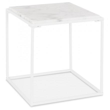 Table basse d'appoint design en pierre marbrée  ROBYN MINI (blanc)