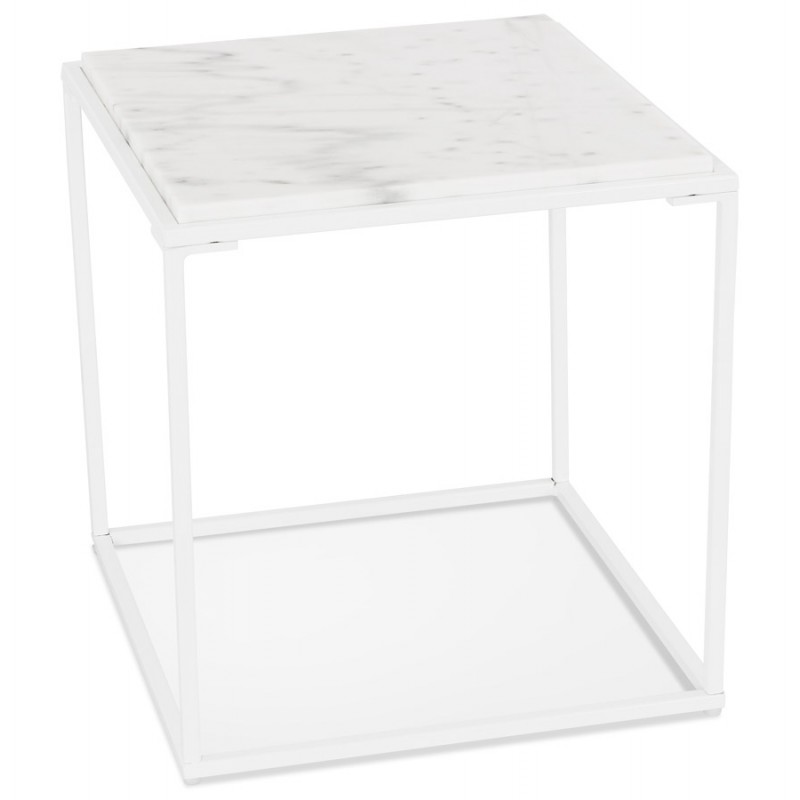 ROBYN MINI marbled stone design side coffee table (white) - image 48439