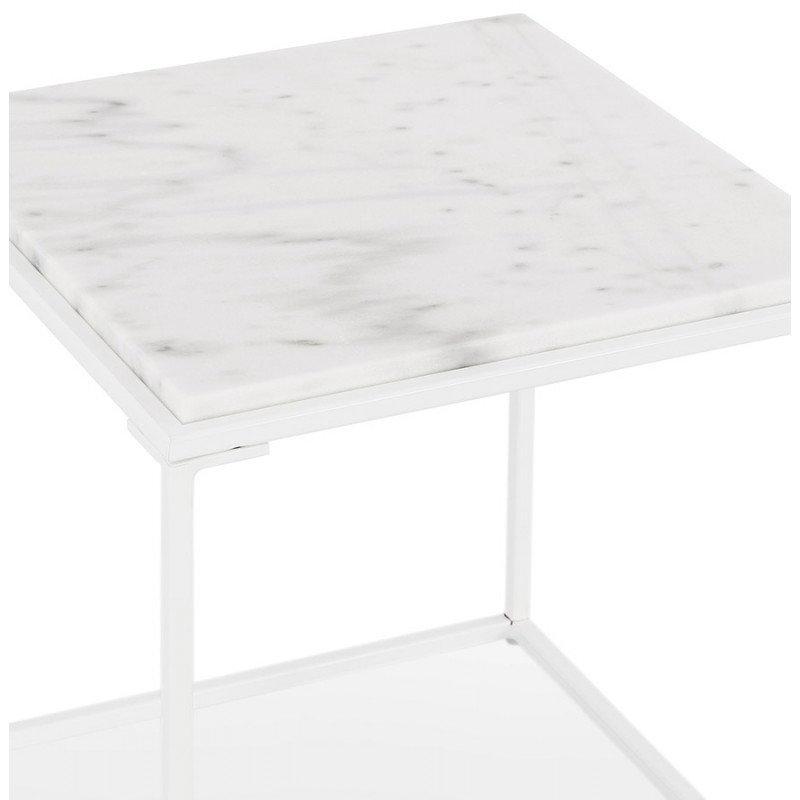 ROBYN MINI marbled stone design side coffee table (white) - image 48440