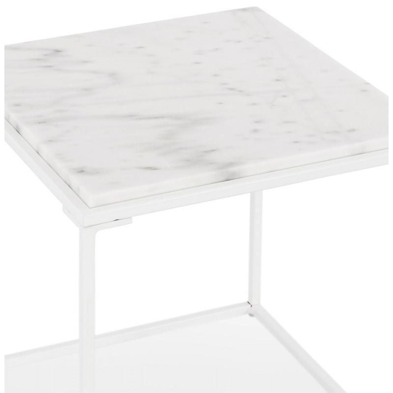 ROBYN MINI marmoriert Stein Design Seite Couchtisch (weiß) - image 48440