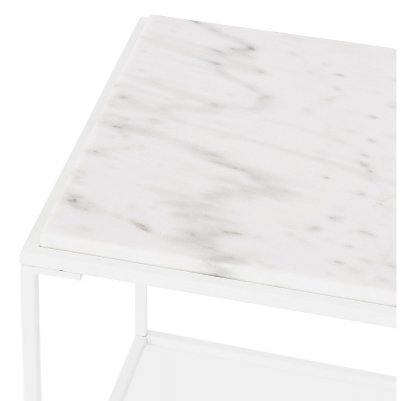 ROBYN MINI marbled stone design side coffee table (white) - image 48441
