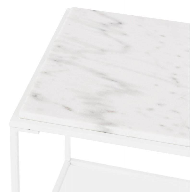 ROBYN MINI marmoriert Stein Design Seite Couchtisch (weiß) - image 48441