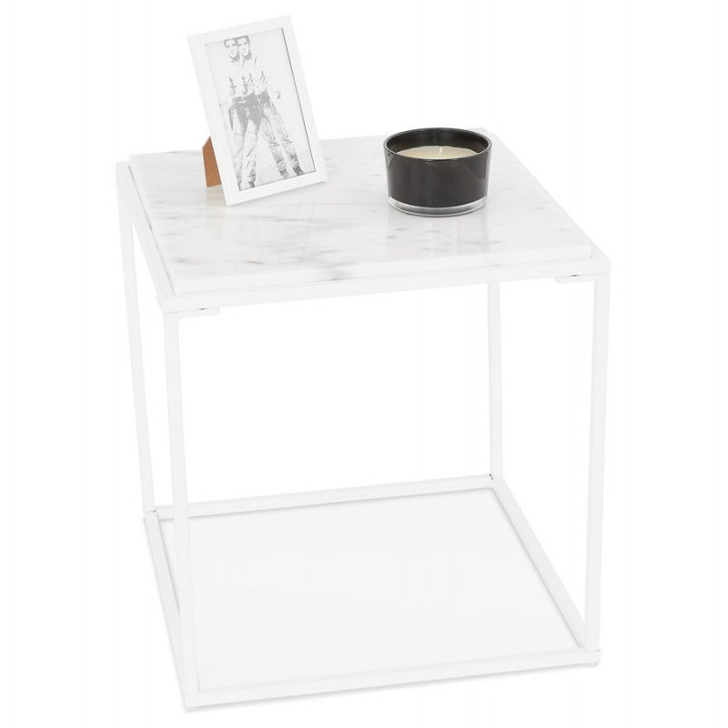 ROBYN MINI marbled stone design side coffee table (white) - image 48445