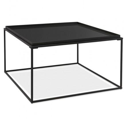 Table basse design en verre et métal RAQUEL (noir)