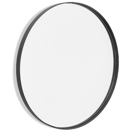 Espejo de diseño redondo metálico (60,5 cm) PRISKA (negro)