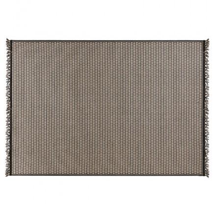Rectangular ethnic carpet - 160x230 cm - PIERRETTE (black, beige)