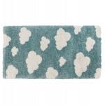 Tapis enfant rectangulaire - 80x150 cm - NUAGE (bleu, beige)