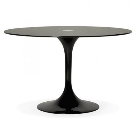 Rundglas und Metall esstisch (120 cm) URIELLE (schwarz)