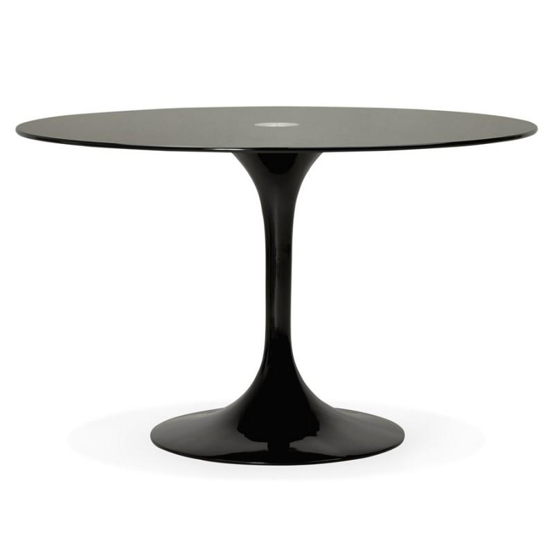 Mesa redonda de vidrio y mesa de comedor metálica (120 cm) URIELLE (negro)
