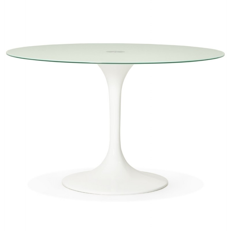 Table à manger ronde en verre et métal (Ø 120 cm) URIELLE (blanc)