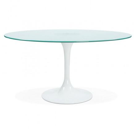 Table à manger ronde en verre et métal (Ø 140 cm) VIOLAINE (blanc)