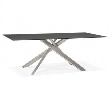 Tavolo da pranzo in vetro e metallo (200x100 cm) WHITNEY (nero)