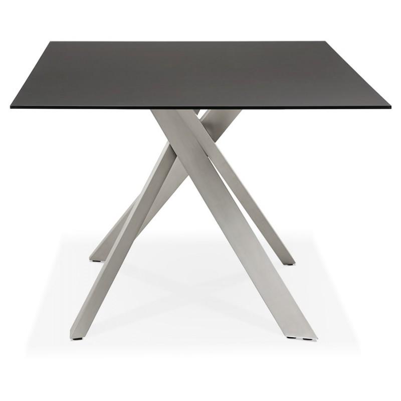 Mesa de comedor de diseño de vidrio y metal (200x100 cm) WHITNEY (negro) - image 48771