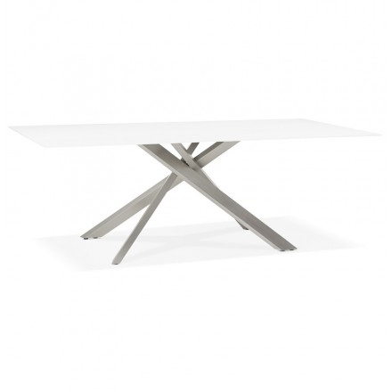 Table à manger design en verre et métal (200x100 cm) WHITNEY (blanc)