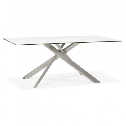 Ceramic and metal brushed steel design (180x90 cm) FLORINA (white)