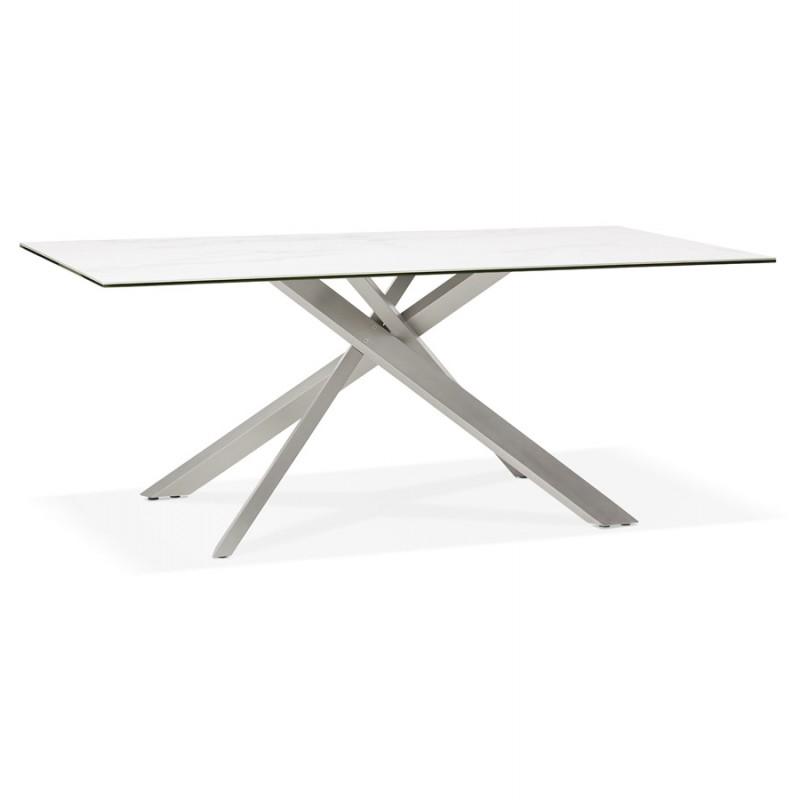 Table à manger design en céramique et métal acier brossé (180x90 cm) FLORINA (blanc) - image 48791