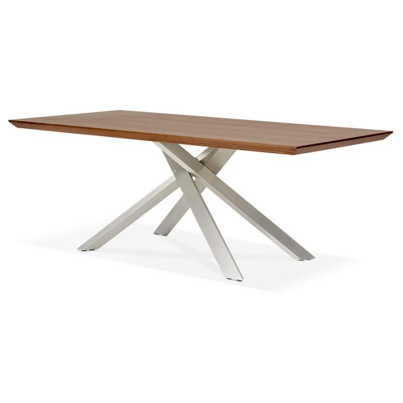 Table à manger design en bois et métal acier brossé (200x100 cm) CATHALINA (noyer) - image 48805