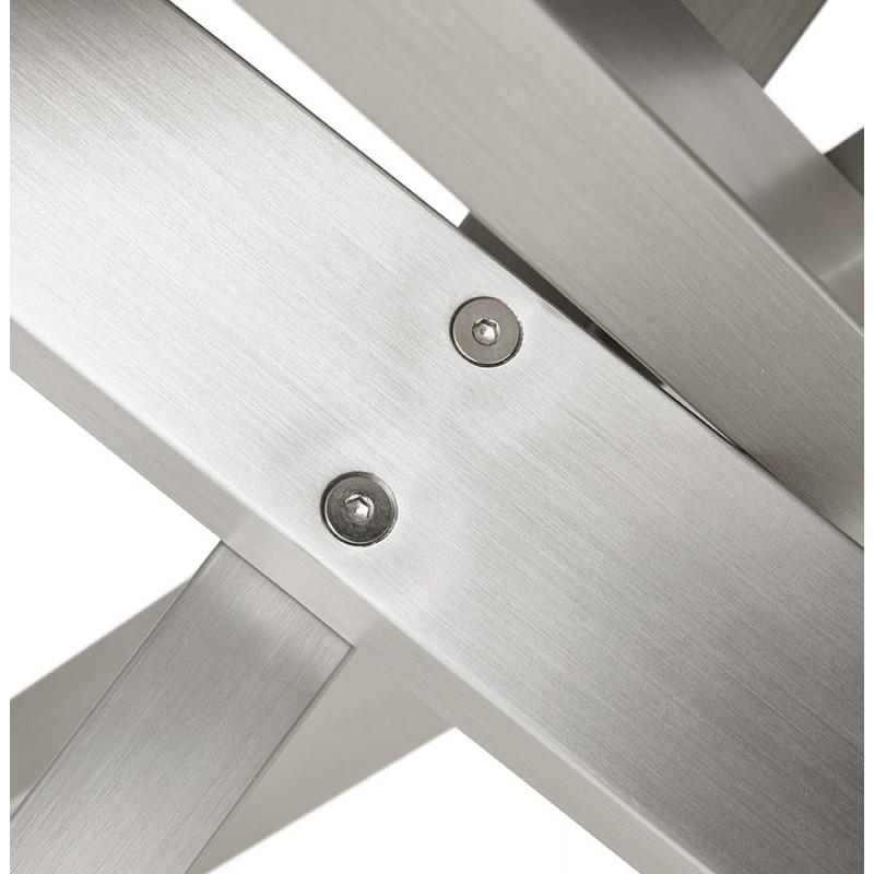 Table à manger design en bois et métal acier brossé (200x100 cm) CATHALINA (noyer) - image 48810