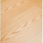 Table à manger design en bois et métal acier brossé (200x100 cm) CATHALINA (finition naturelle)