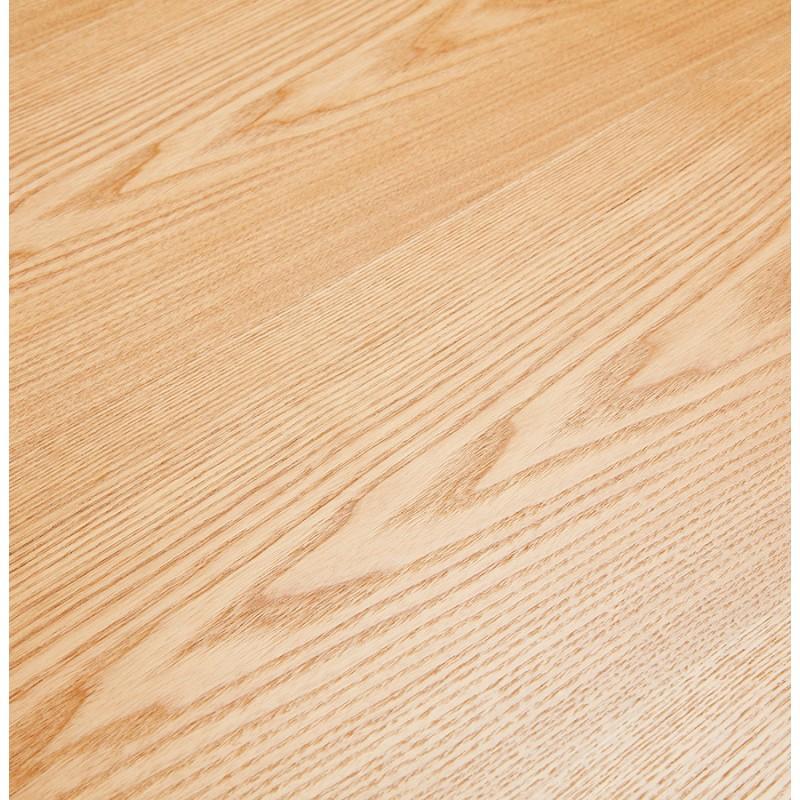 Table à manger design en bois et métal acier brossé (200x100 cm) CATHALINA (finition naturelle) - image 48818