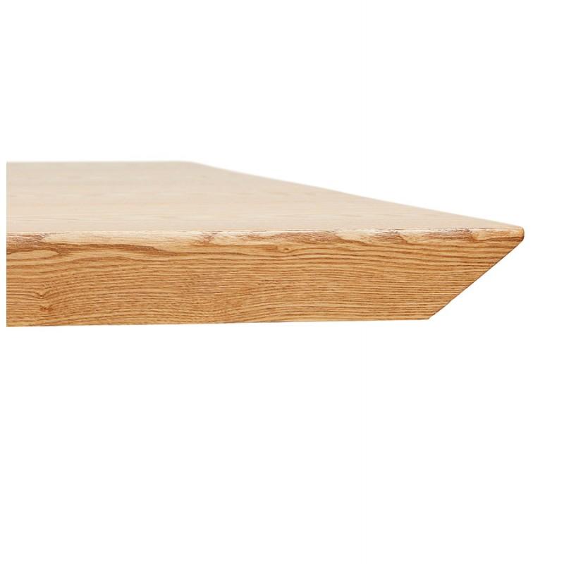 Table à manger design en bois et métal acier brossé (200x100 cm) CATHALINA (finition naturelle) - image 48819