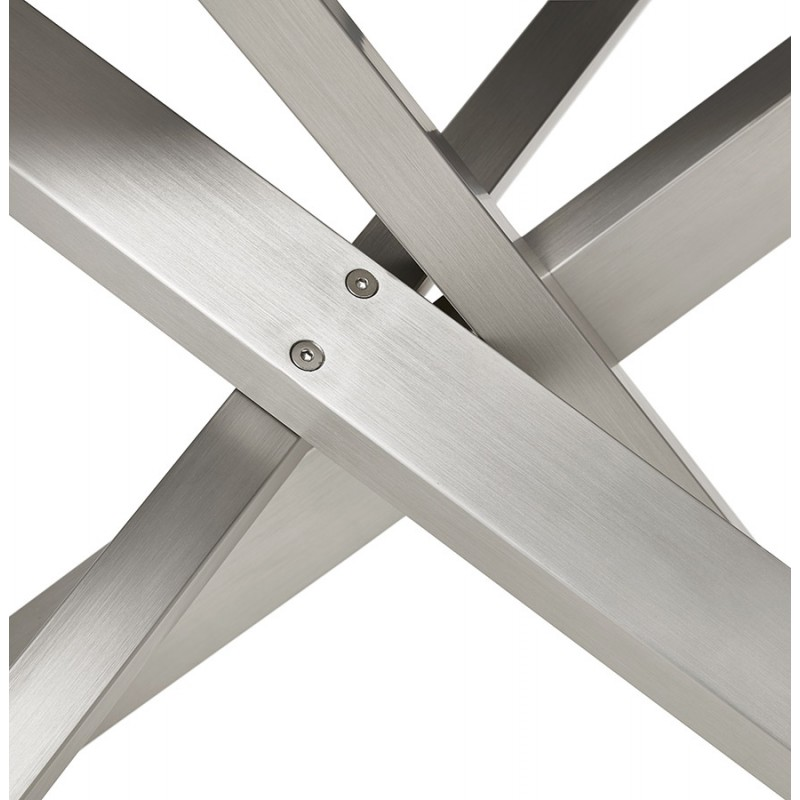 Diseño de madera y metal cepillado de acero cepillado (200x100 cm) CATHALINA (acabado natural) - image 48820