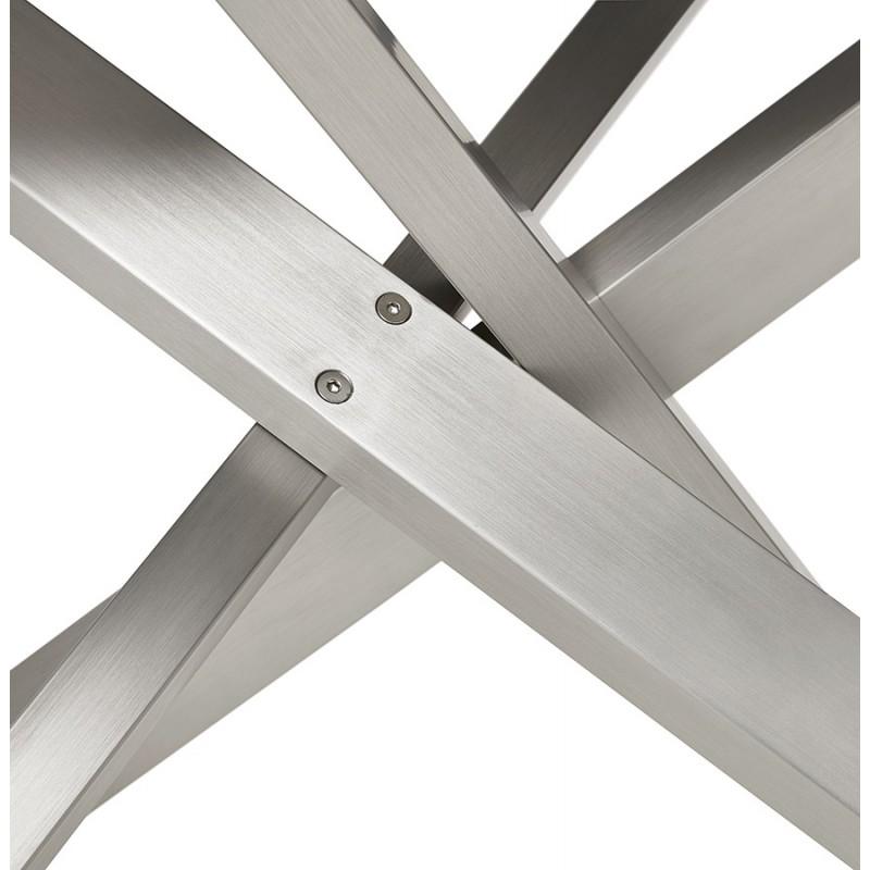 Table à manger design en bois et métal acier brossé (200x100 cm) CATHALINA (finition naturelle) - image 48820