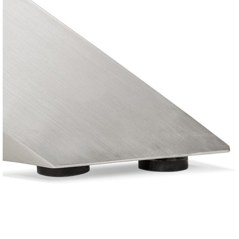 Table à manger design en bois et métal acier brossé (200x100 cm) CATHALINA (finition naturelle) - image 48822