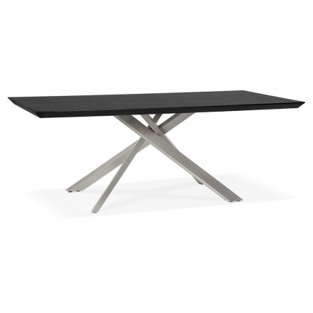 Wooden and metal brushed steel design (200x100 cm) CATHALINA (black)