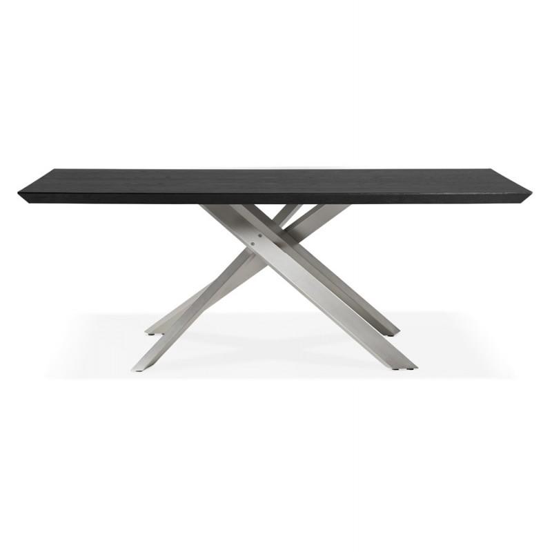 Holz- und Metall-Gebürstetes Stahldesign (200x100 cm) CATHALINA (schwarz) - image 48825