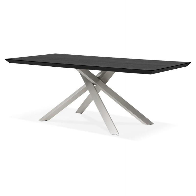 Table à manger design en bois et métal acier brossé (200x100 cm) CATHALINA (noir) - image 48827