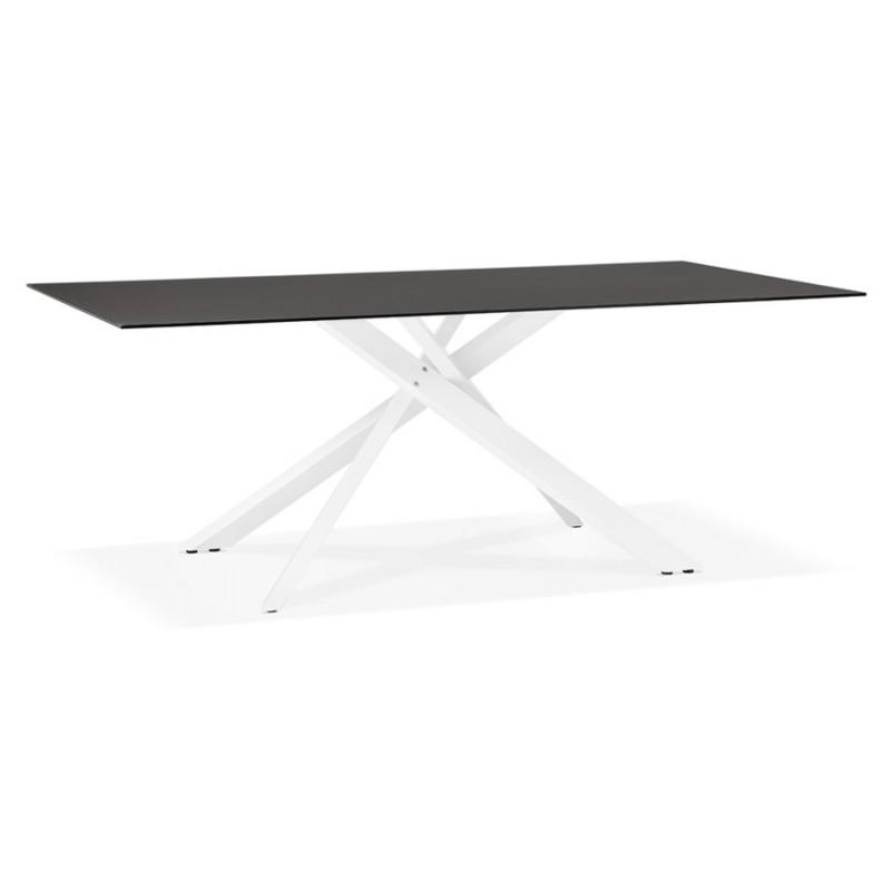 Mesa de comedor de diseño de vidrio y metal blanco (200x100 cm) WHITNEY (negro)