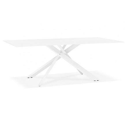 Glas- und Weißmetalldesign (200x100 cm) WHITNEY (weiß)
