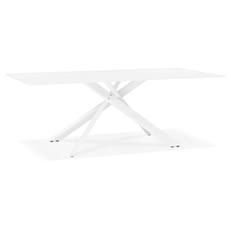 Table à manger designen verre et métal blanc (200x100 cm) WHITNEY (blanc)