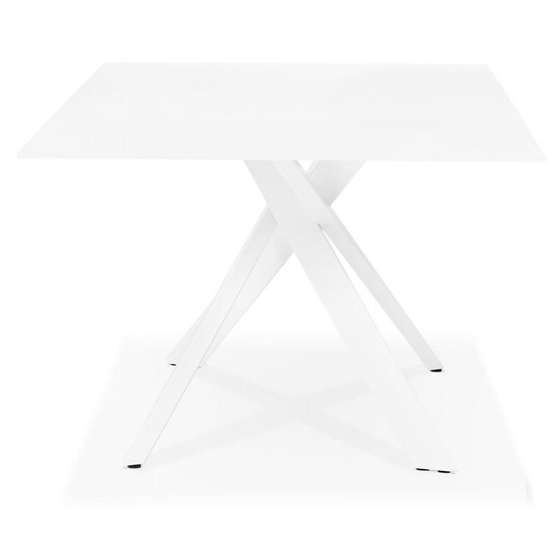 Table à manger designen verre et métal blanc (200x100 cm) WHITNEY (blanc) - image 48847