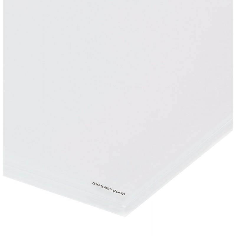 Table à manger designen verre et métal blanc (200x100 cm) WHITNEY (blanc) - image 48851