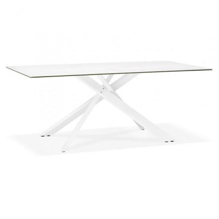 Design in ceramics and white metal (180x90 cm) FLORINA (white)