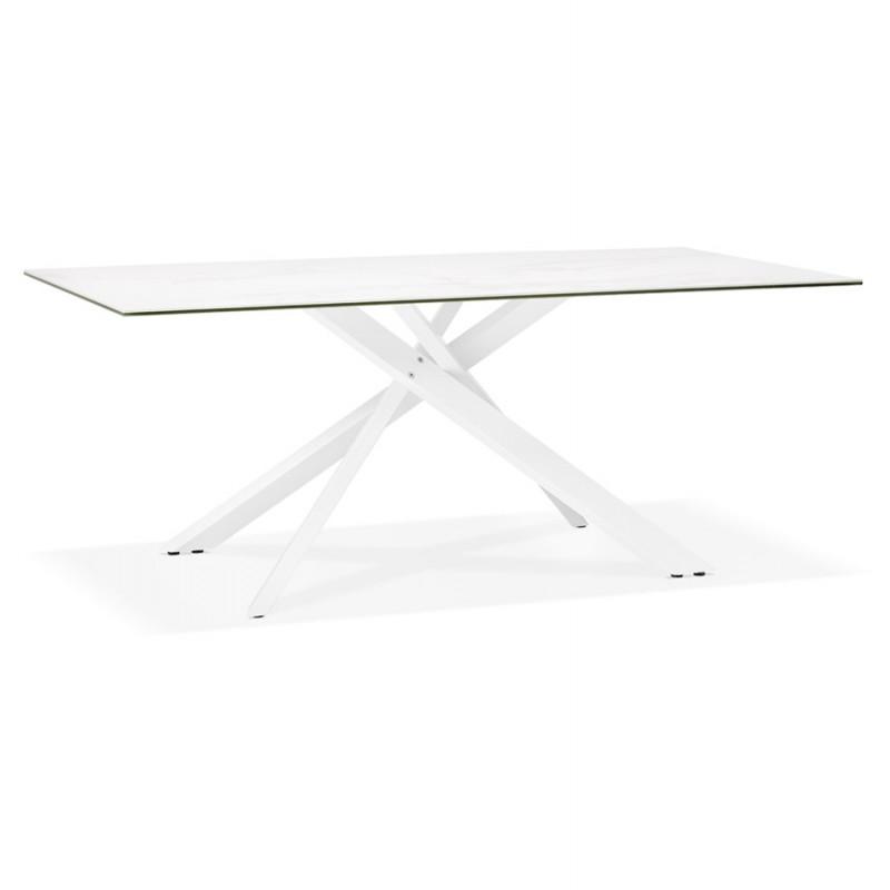 Table à manger designen céramique et métal blanc (180x90 cm) FLORINA (blanc) - image 48856