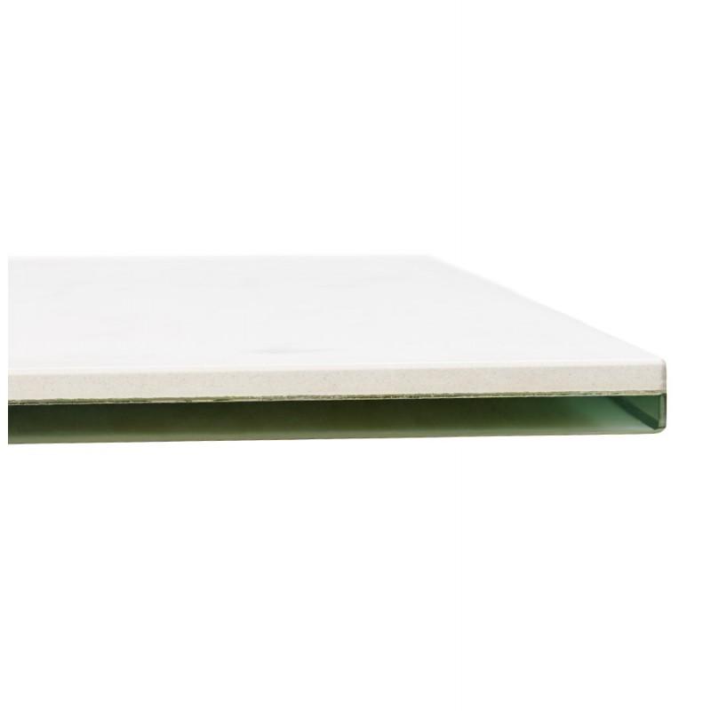 Table à manger designen céramique et métal blanc (180x90 cm) FLORINA (blanc) - image 48861