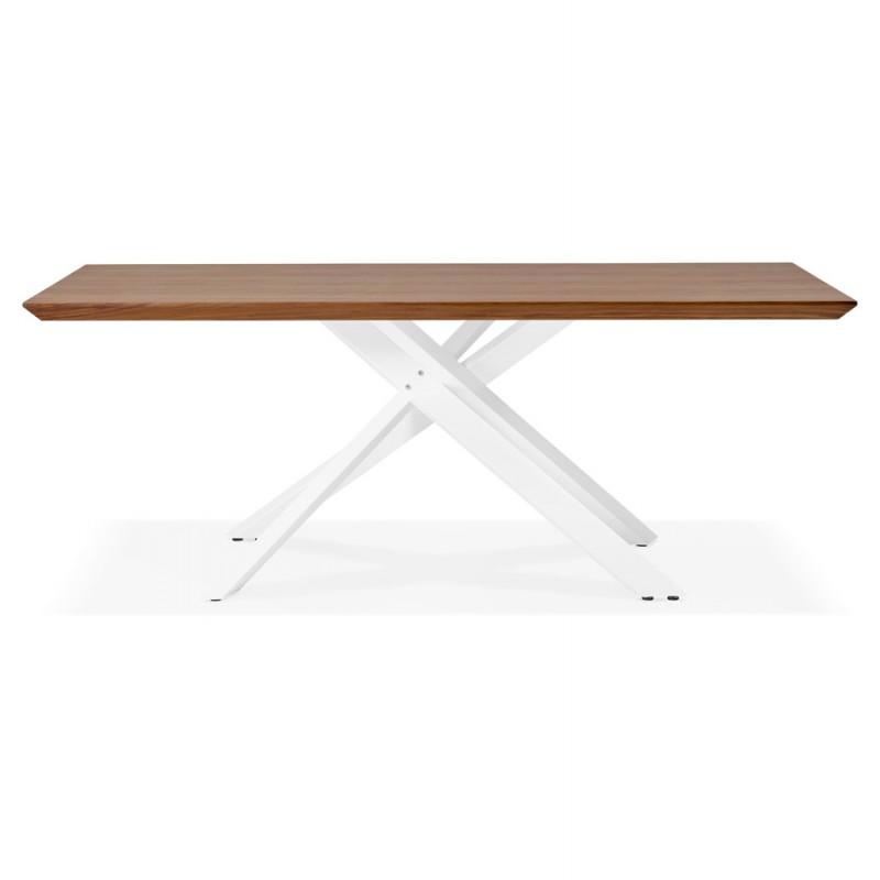 Mesa de comedor de diseño de madera y metal blanco (200x100 cm) CATHALINA (ahogamiento) - image 48867