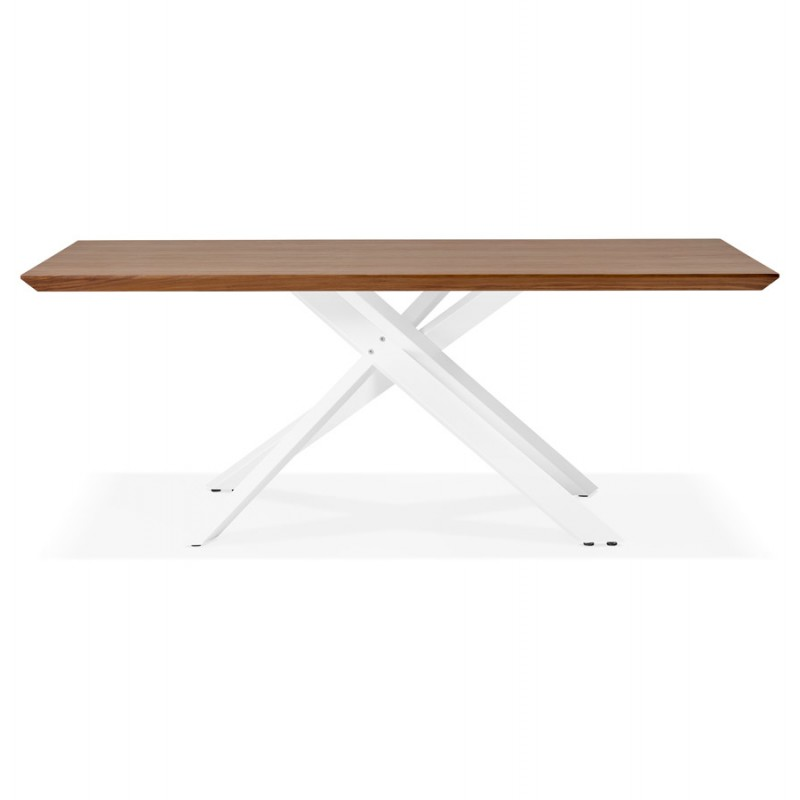 Table à manger design en bois et métal blanc (200x100 cm) CATHALINA (noyer) - image 48867