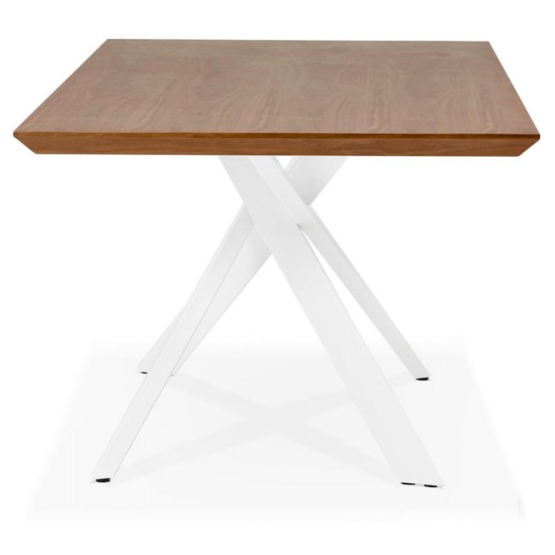 Table à manger design en bois et métal blanc (200x100 cm) CATHALINA (noyer) - image 48868