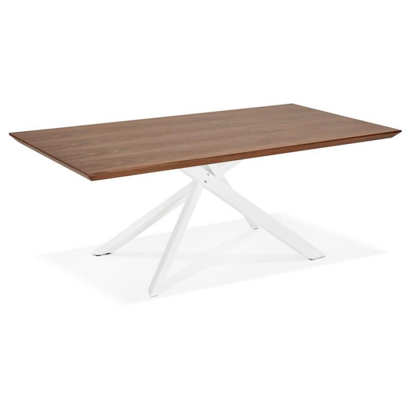 Table à manger design en bois et métal blanc (200x100 cm) CATHALINA (noyer) - image 48870