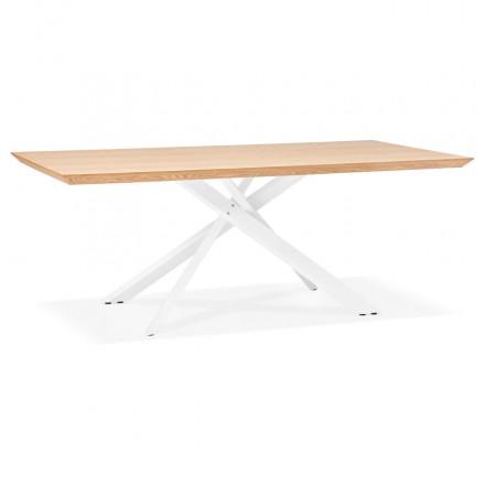Tavolo da pranzo in legno e metallo bianco (200x100 cm) CATHALINA (finitura naturale)