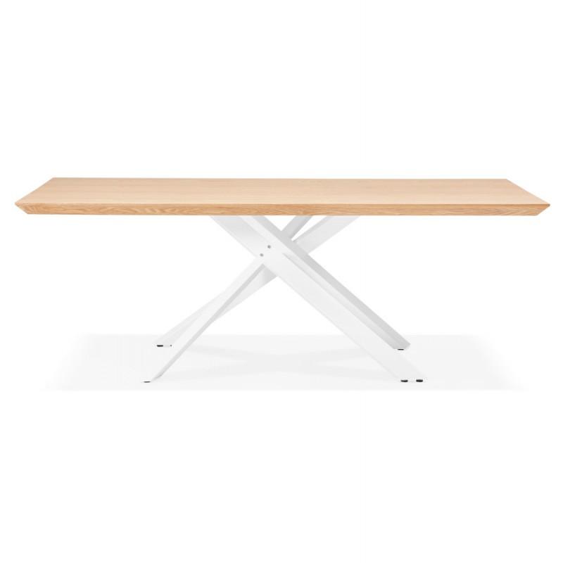 Mesa de comedor de diseño de madera y metal blanco (200x100 cm) CATHALINA (acabado natural) - image 48877