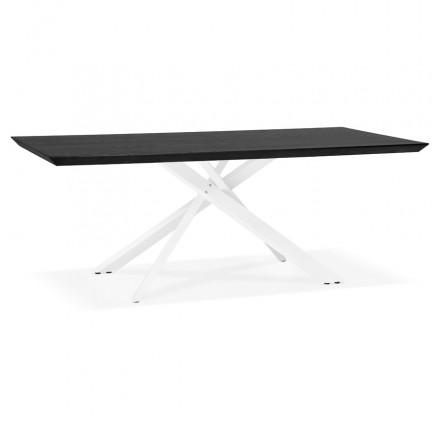 Esstisch aus Holz und weiß Metall (200x100 cm) CATHALINA (schwarz)