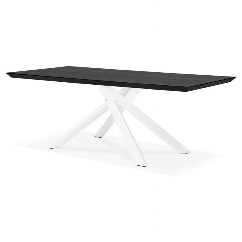Mesa de comedor de diseño de madera y metal blanco (200x100 cm) CATHALINA (negro) - image 48885