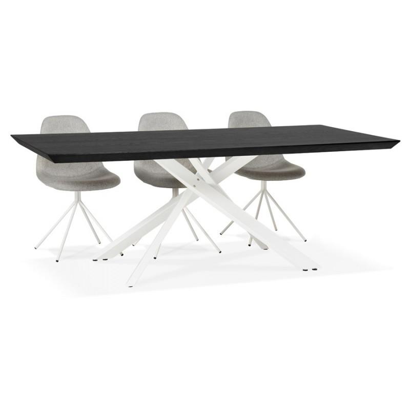 Mesa de comedor de diseño de madera y metal blanco (200x100 cm) CATHALINA (negro) - image 48890