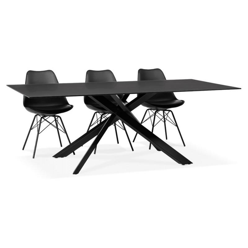 Mesa de comedor de diseño de vidrio y metal negro (200x100 cm) WHITNEY (negro) - image 48900